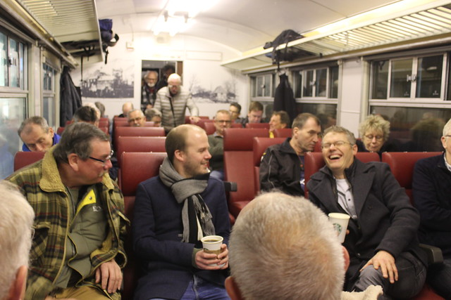 Good cheer in the second class compartment
