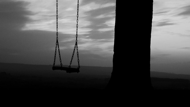 A Black & White Sunset to Sit & Watch from a Swing