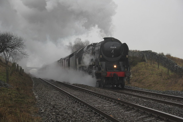 1Z65 WCR RTC Manchester-Carlisle 'Winter Cumbrian Mountain Express' with SR Rebuilt MN 35018 'British India Lines' at Blea Moor, North Yorkshire 25th January 2020. ©