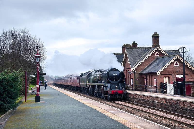 Merchant Navy No.35018 'British India Line' works the first mainline tour of 2020 north through Langwathby Station, a Winter Cumbrian Mountain Express originating from Manchester Victoria, returning via the West Coast Mainline.