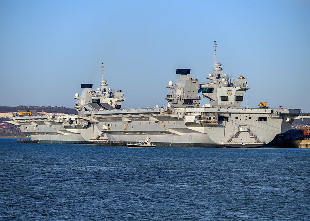 HMS Prince of Wales and HMS Queen Elizabeth, Portsmouth Harbour, Portsmouth, Hampshire, UK