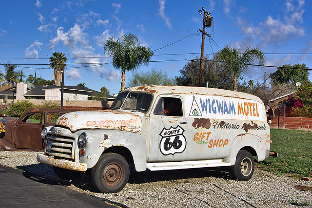 Company Van at Wigwam Motel on Route 66 in Rialto, California