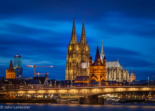 Cologne cathedral during winter evening blue hour