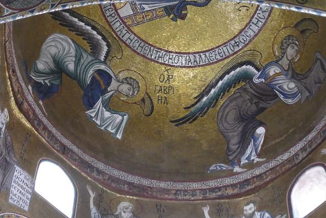 Les archanges, coupole du transept, mosaïques romano-byzantines, église de la Martorana (XIIe-XVIe-XVIIIe) ou Santa Maria dell'Amiraglio, piazza Bellini, Palerme, Sicile, Italie.