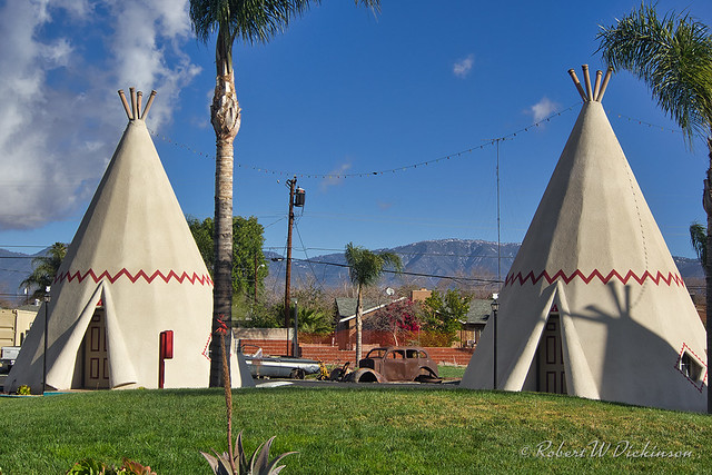 Two Teepees at Wigwam Motel on Route 66 in Rialto, California