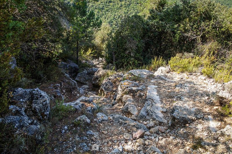 Cruce del sendero de la Pixera con el de la Foradada