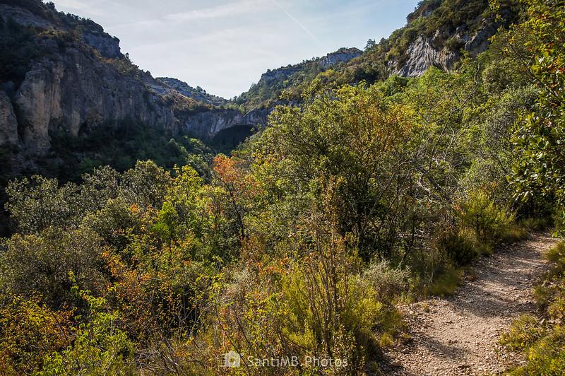 La Cova de les Gralles desde el sendero