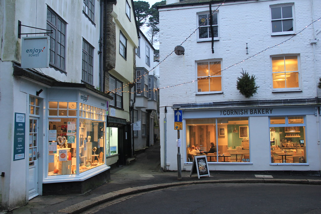 Shops, cafes and art galleries on the streets of Fowey, Cornwall