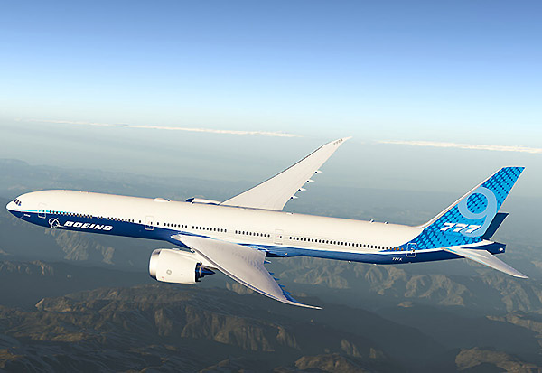 Boeing B777-9 flying (Boeing)
