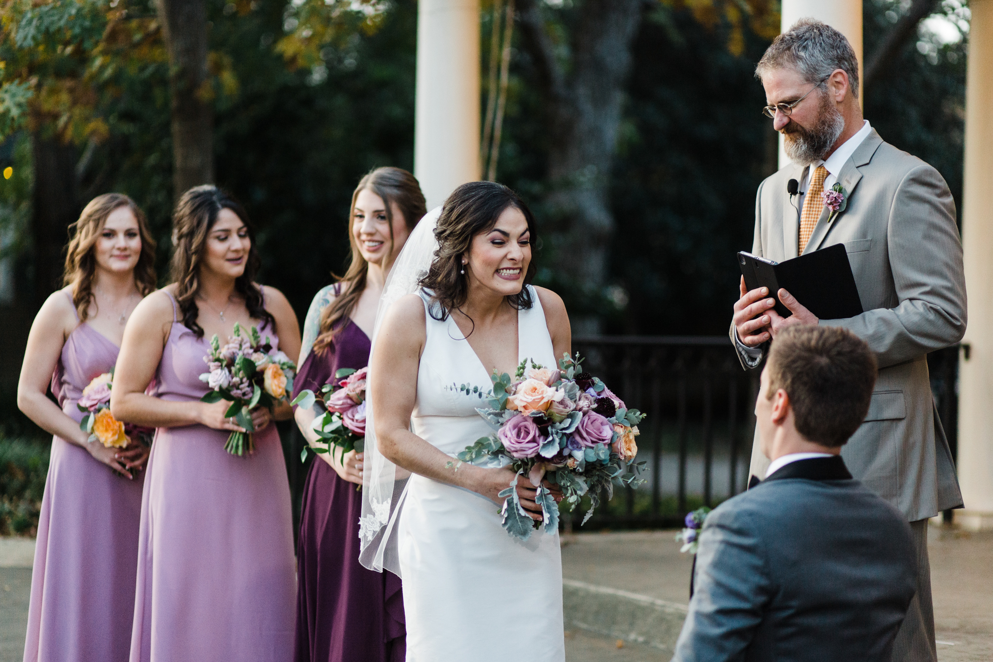 wedding ceremony bride smiling