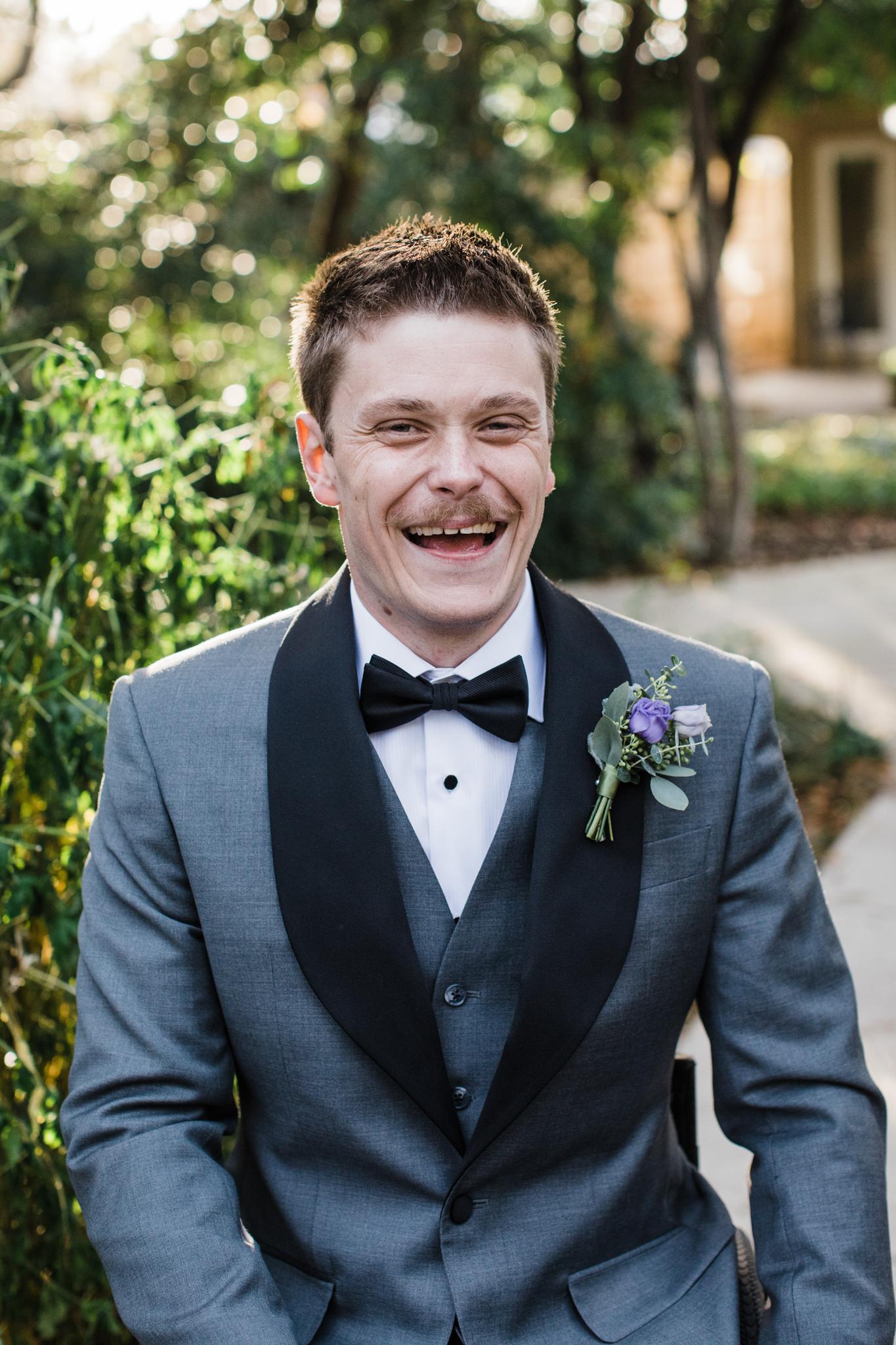 groom laughing portrait