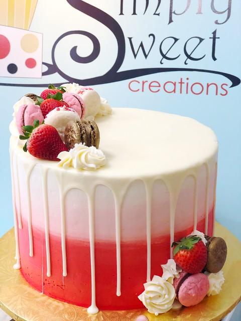 Red macaron cake