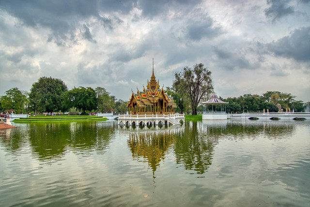 Lake in Bang Pa-In royal palace near Ayutthaya, Thailand