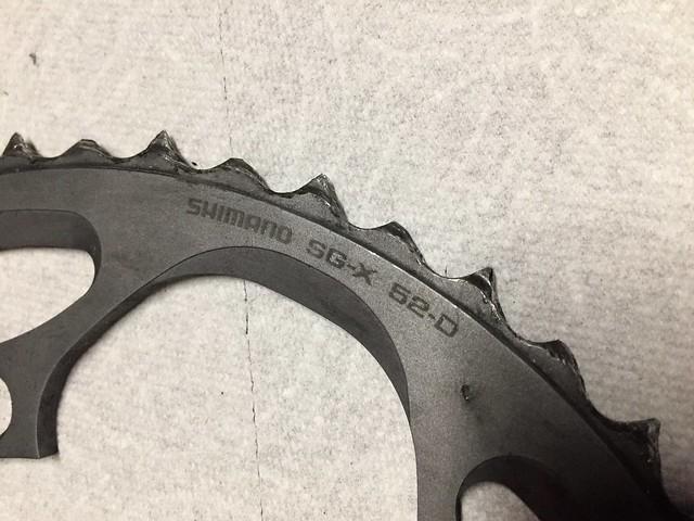 Worn chainwheel