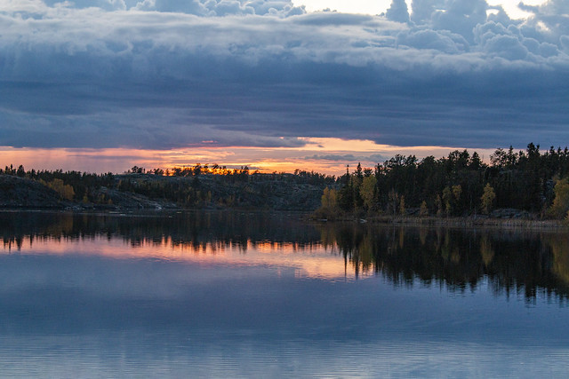 Sunset, Frame Lake, Yellowknife Bay, Yellowknife, Great Slave Lake, NWT