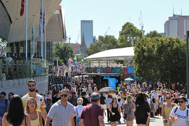 Ramp leading to Garden Square during the 2020 Australian Open