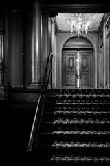 Creepy Hotel Stairway Black and White