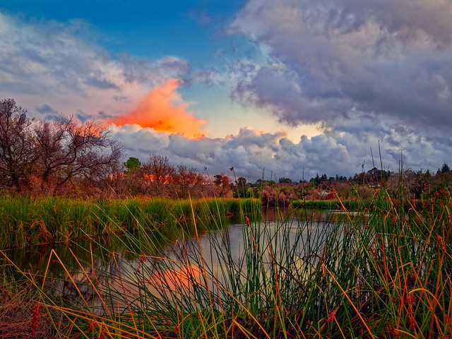 Stormy Sunset over Heather Farms Pond