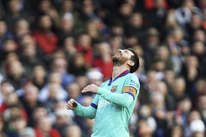 Lionel Messi錯失進球機會後的反應。(達志影像)