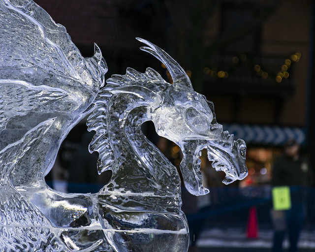 1st place finisher in ice carving at 2020 Zehnders Snowfest