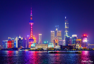 Shanghai Pudong night skyline