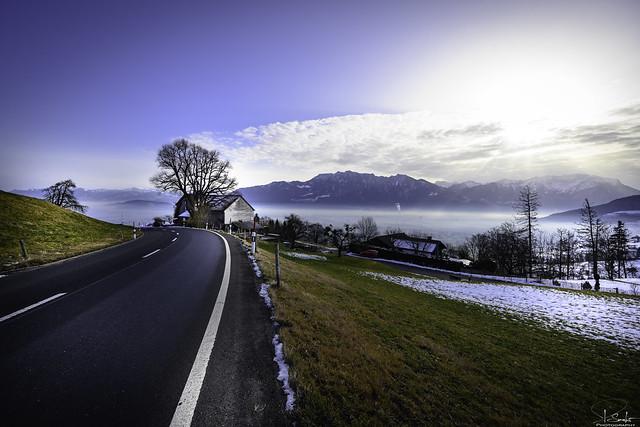 Road from Wildhaus - Gams - St.Gallen - Switzerland