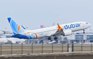 flydubai Boeing 737-8 MAX departing Belgrade