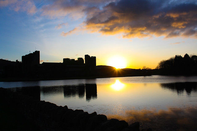 Caerphilly castle sunset