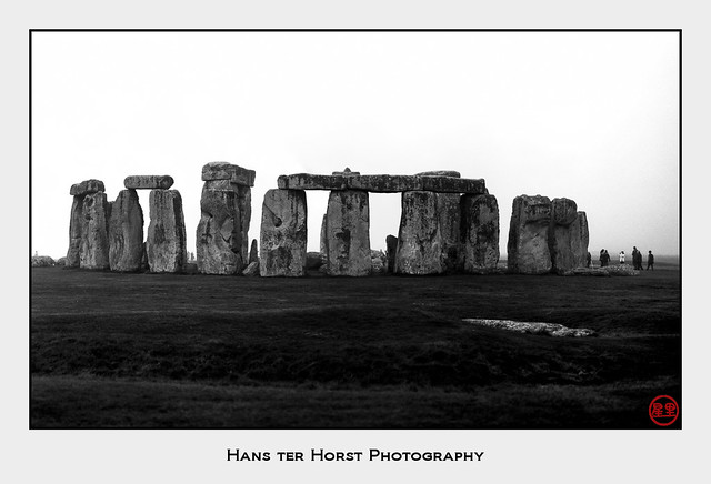 Stonehenge in the fog, stitched from 2 negatives