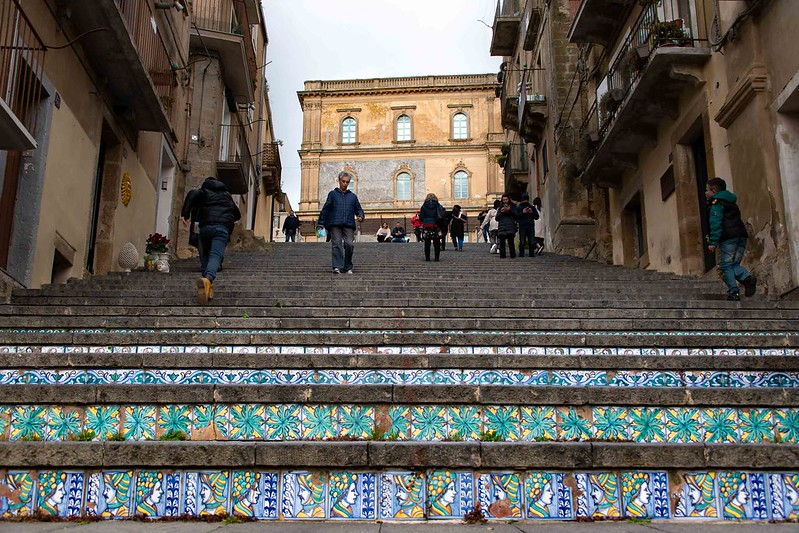 Scala Santa Maria del Monte in porcelain city Caltagirone, on the island of Sicily, Italy