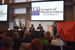 State Rep. Brian Farnen speaking at the annual League of Women Voters Forum