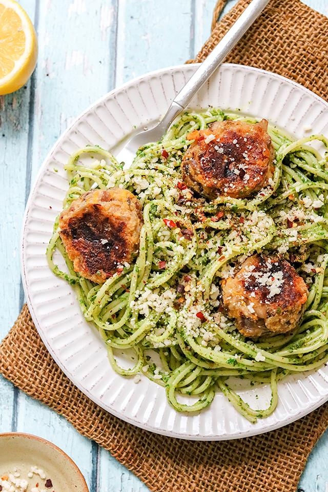 Spaghetti with Arugula Pistachio Pesto and Butternut Squash Polpette