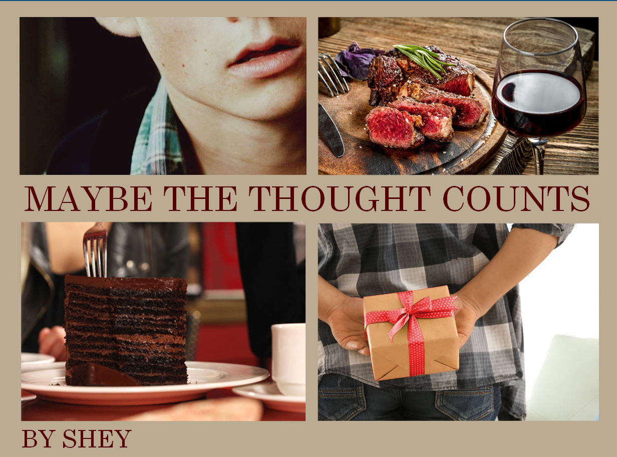 Banner for fic with four images. Stiles' mouth, steak dinner, chocolate cake, a gift, and the title of the story