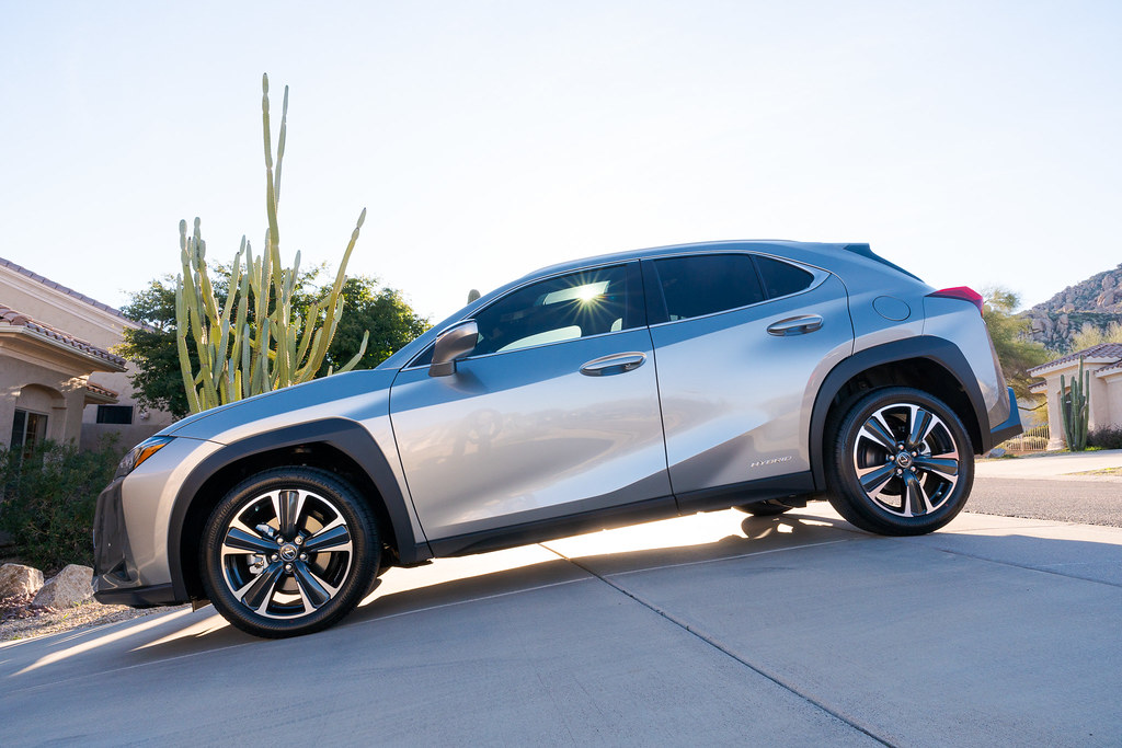A backlit look at my new car, the 2020 Lexus UX 250h, taken in our driveway in Scottsdale, Arizona in January 2020
