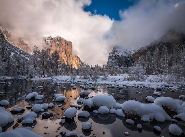 Valley View El Capitan Snowy Rocks Merced River Fuji GFX100! Yosemite National Park Winter Snow Clearing Snowstorm! Dr. Elliot McGucken Medium Format Master Fine Art Photographer dx4/dt=ic Fujifilm GFX 100 & Fujinon GF Lens!