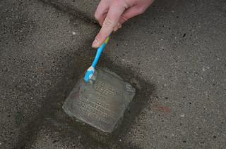 75th anniversary of the liberation of Auschwitz concentration camp: Stolpersteine-Putzen in Osnabrück