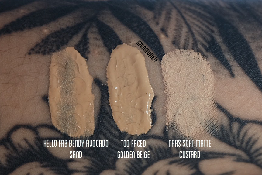 Bendy Avocado Concealer Sand swatch vs too faced born this way golden beige vs nars soft matte custard
