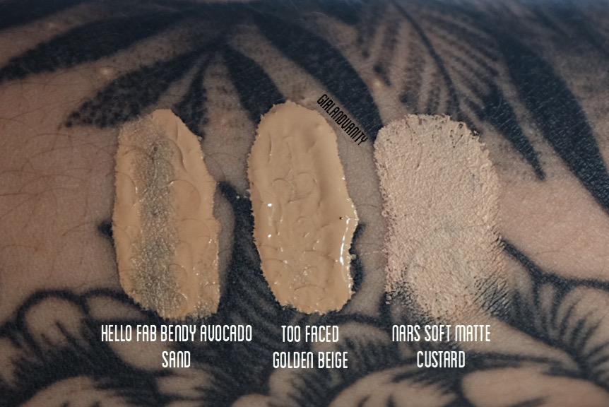 Bendy Avocado Concealer Sand swatch vs too faced born this way golden beige vs nars soft matte custard