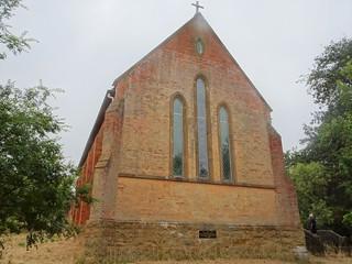 Merino. Victoria. The stone facade of the red brick Anglican Church. Opened in 1867.