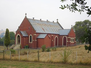 Merino Victoria. The first Catholic Church built in 1864. This church was built in 1935. It is now a residence and a new brick annex has been added to the side.