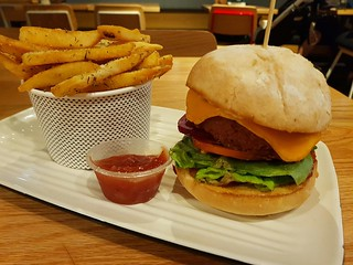 Vegan Beyond Garden Burger and Chips from Grill'd