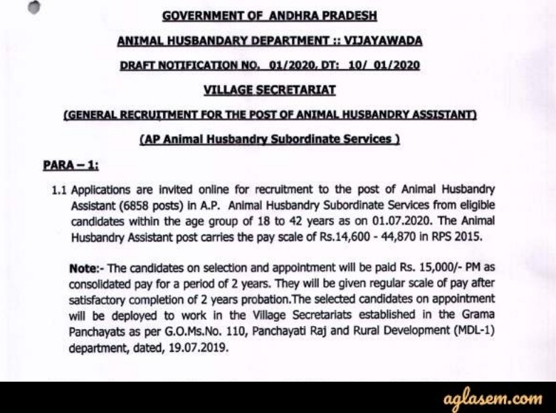 AP Grama Sachivalayam Animal Husbandry Assistant Recruitment 2020 Notification