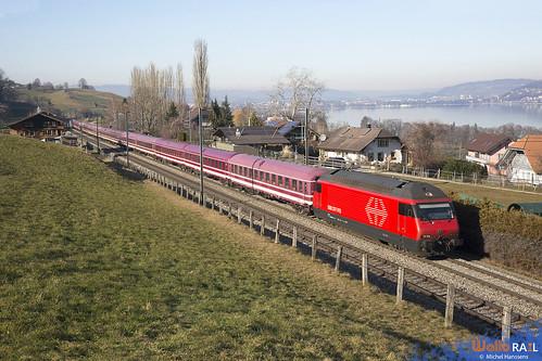Re 460 054 . SBB . 32128 . Leerer Zug von Zürich nach Brig , Sierre-Siders für den intersoc , Ziel , destination Bruxelles . Spiezmoos Nord . 22.01.20.