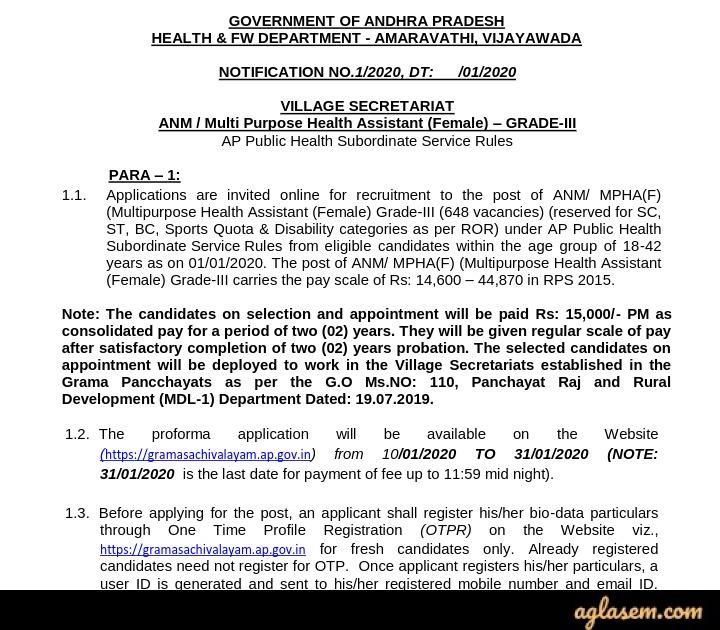 AP Grama Sachivalayam ANM Recruitment 2020 Notification