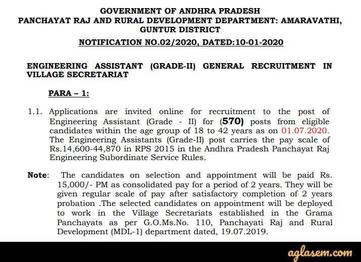 AP Grama Sachivalayam Engineering Assistant Recruitment 2020 Notification