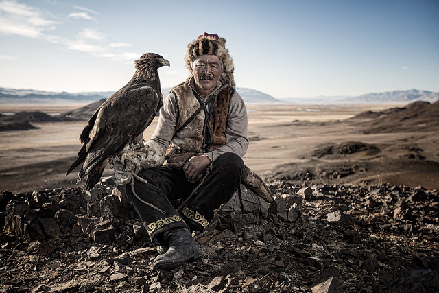 Khairatkhan with his eagle