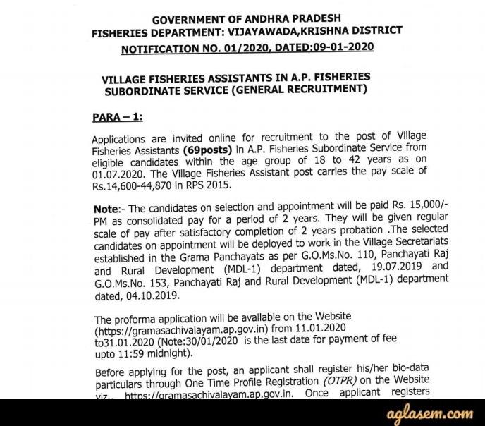 AP Grama Sachivalayam Village Fisheries Assistant Recruitment 2020 Notification