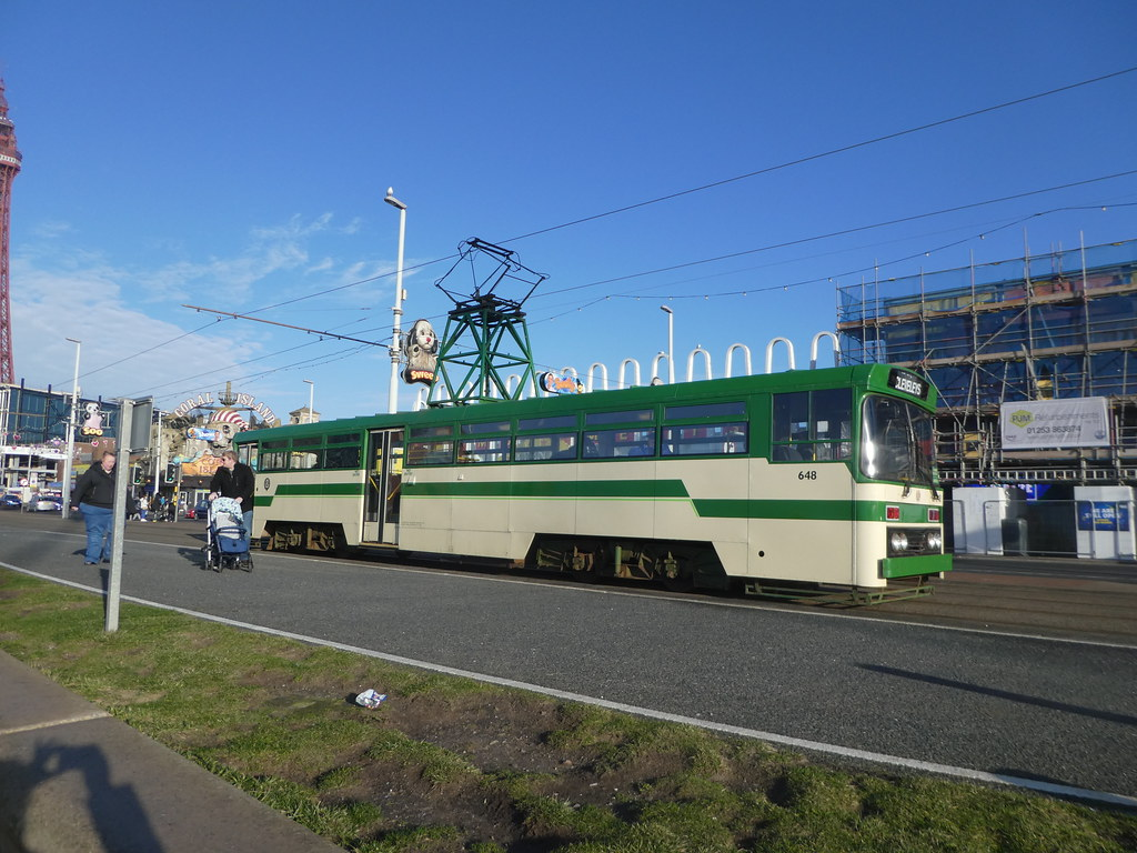Heritage trams along Blackpool seafront