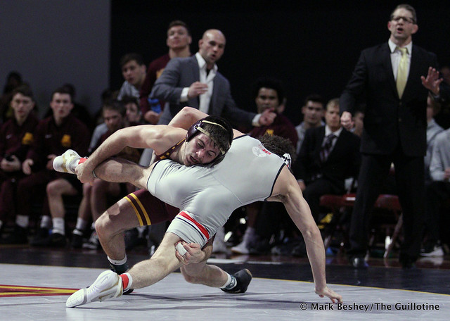 149: #6 Sammy Sasso (Ohio State) dec.#4 Brayton Lee (Minnesota) 4-2. 200126AMK0199