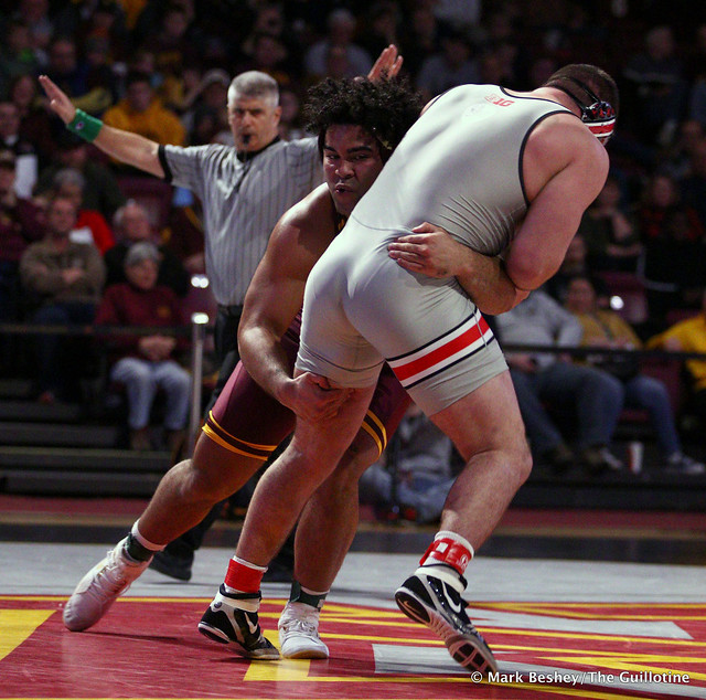 285: #1 Gable Steveson (Minnesota) maj. dec. #23 Gary Traub (Ohio State) 13-2. 200126AMK0109